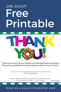 graphic regarding Girl Scout Cookie Thank You Note Printable named Lady Scout Cookies Thank Your self Printable Woman Scout Free of charge